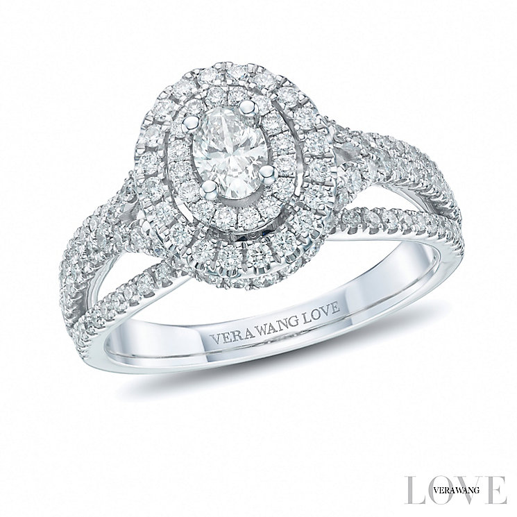 Vera Wang 18ct White Gold 0.95ct Diamond Double Halo Ring - Product number 6375235