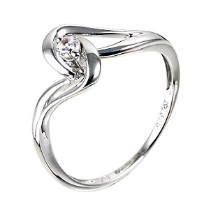 9ct White Gold Cubic Zirconia Twist Ring - Product number 6377971