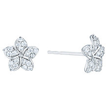 9ct White Gold Cubic Zirconia Flower Studs - Product number 6381553
