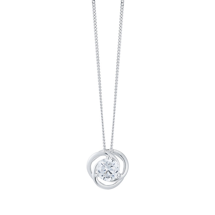 9ct White Gold Swirl Cubic Zirconia Pendant - Product number 6381669