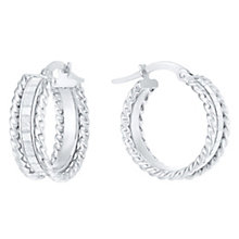 9ct White Gold Sparkle Round Creole Earrings - Product number 6382614