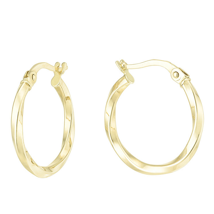 9ct Yellow Gold Creole Earrings - Product number 6382657