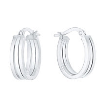 9ct White Gold Triple Oval Creole Earrings - Product number 6382673