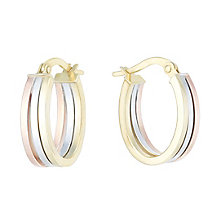 9ct Yellow White & Rose Gold Oval Creole Earrings - Product number 6382681
