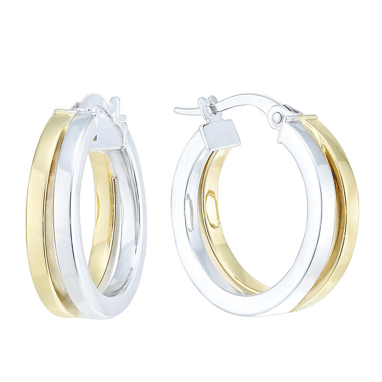 9ct Yellow & White Gold Double Hoop Creole Earrings - Product number 6382711