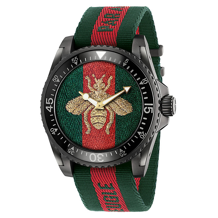 Gucci Men's Ion Plated Bee Strap Watch - Product number 6383416