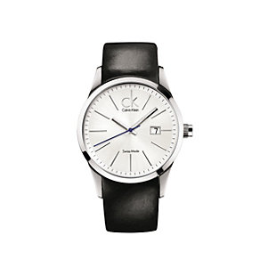Calvin Klein men's black leather strap watch - Product number 6389090
