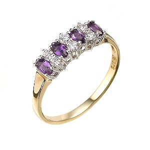 9ct Gold Amethyst and Cubic Zirconia Ring