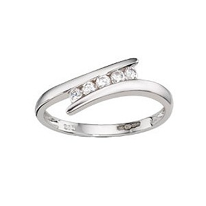9ct White Gold Cubic Zirconia 5 Stone Twist Ring