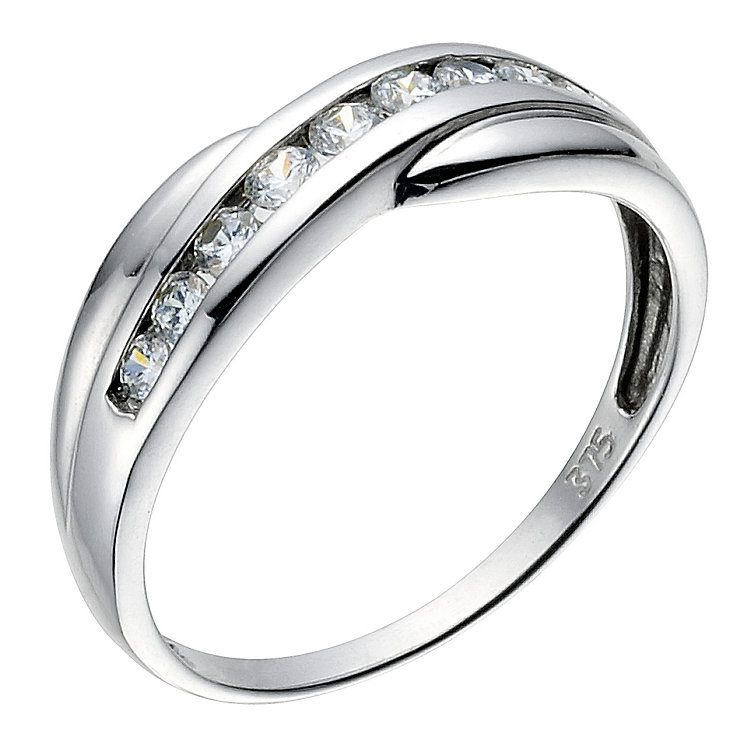 9ct white gold cubic zirconia cross over eternity ring - Product number 6393047
