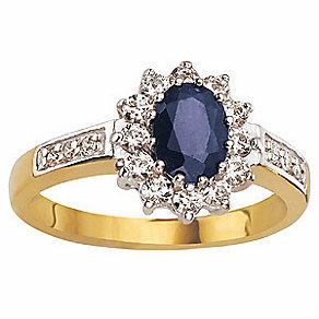 9ct Gold Sapphire & CZ Ring - Product number 6393934