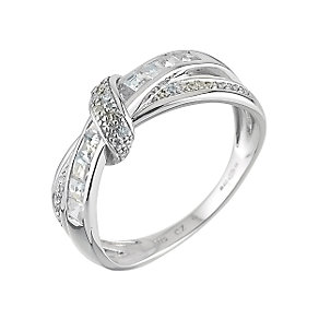 9ct White Gold Cubic Zirconia Crossover Ring - Product number 6394345