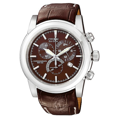 Citizen Eco Drive brown leather strap watch