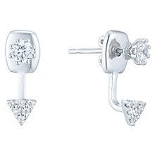 Sterling Silver Cubic Zirconia Ear Jacket Earrings - Product number 6412866