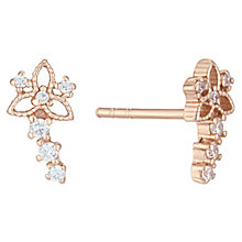 Rose Gold Plated Cubic Zirconia Flower Ear Climber Earrings - Product number 6412874