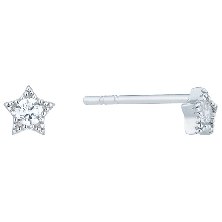 Sterling Silver Cubic Zirconia Star Stud Earrings - Product number 6412890