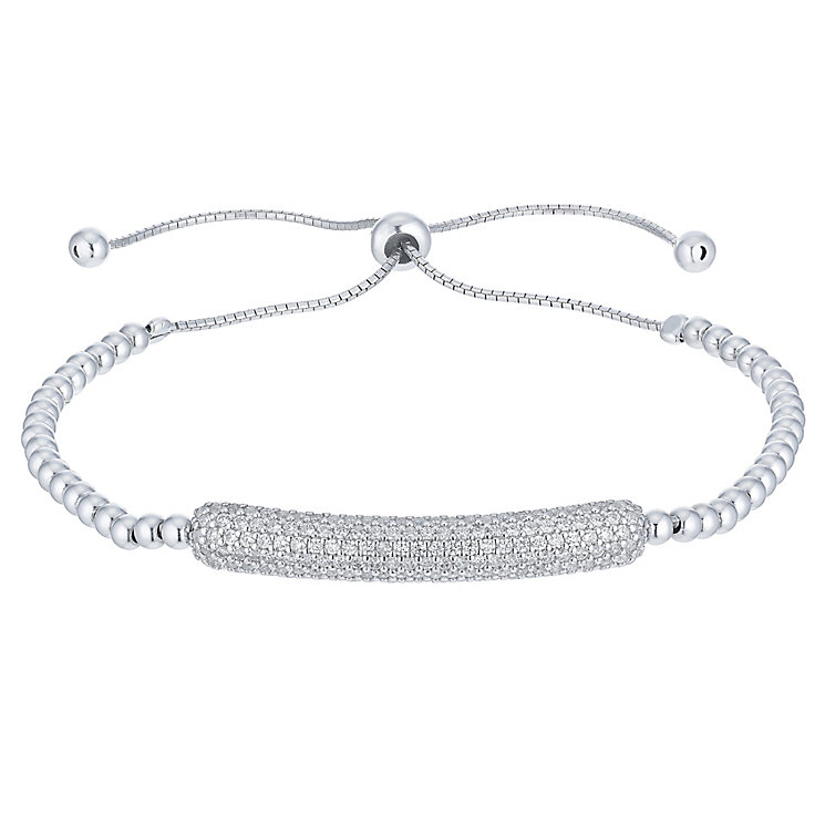 Sterling Silver Cubic Zirconia Bead Adjustable Bolo Bracelet - Product number 6412939