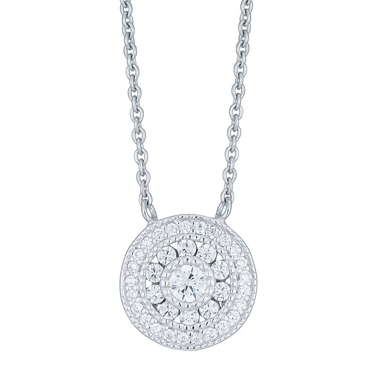 Sterling Silver Cubic Zirconia Encrusted Circle necklace - Product number 6412947