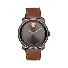 Movado Bold Men's Ion-Plated Grey Brown Strap Watch - Product number 6414109