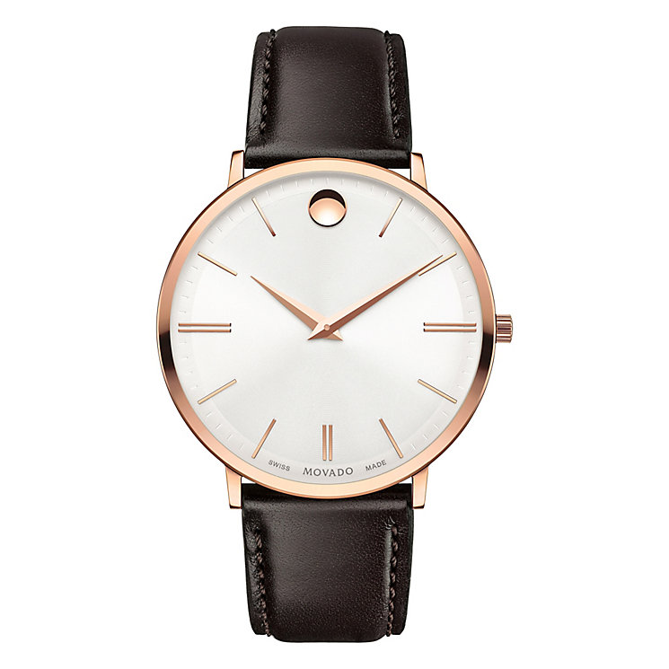 Movado Ultra Slim Men's Rose Gold-Plated Strap Watch - Product number 6414168