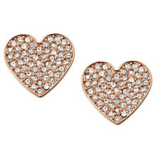 Fossil Rose Gold Tone Pave Heart Earrings - Product number 6415075