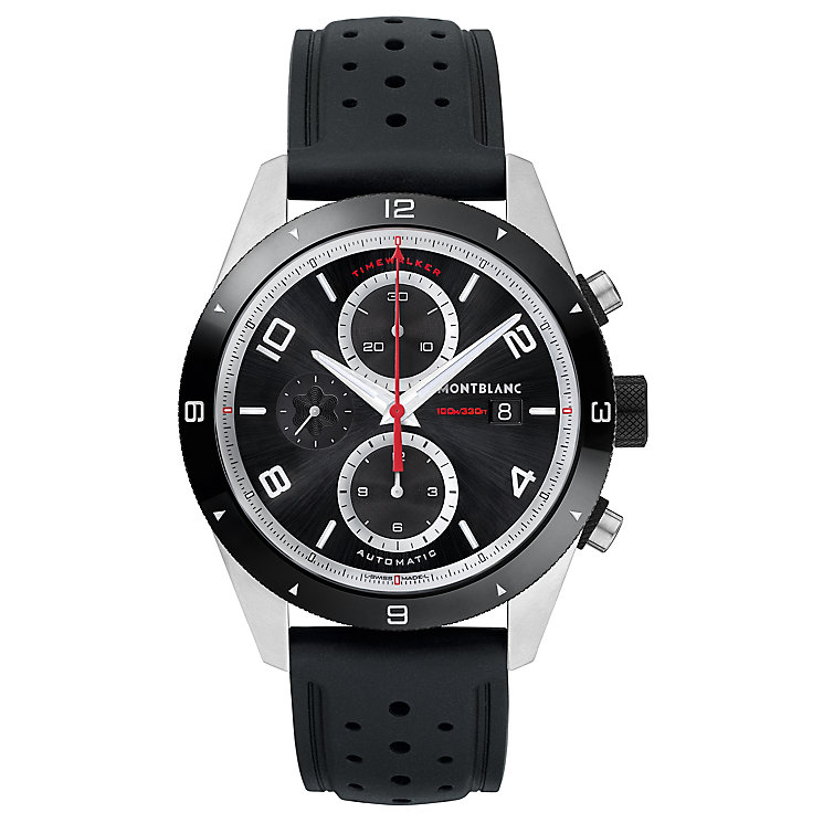 MontBlanc Timewalker Men's Stainless Steel Black Strap Watch - Product number 6415601