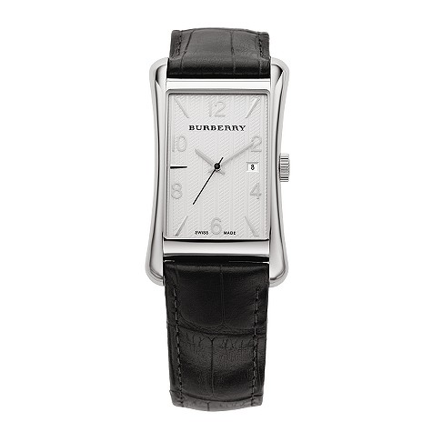 mens black leather strap watch