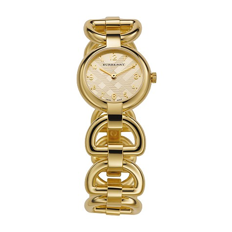 ladies gold-plated bangle watch