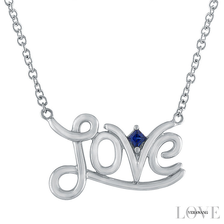Vera Wang Sterling Silver Sapphire Love Necklace - Product number 6419518