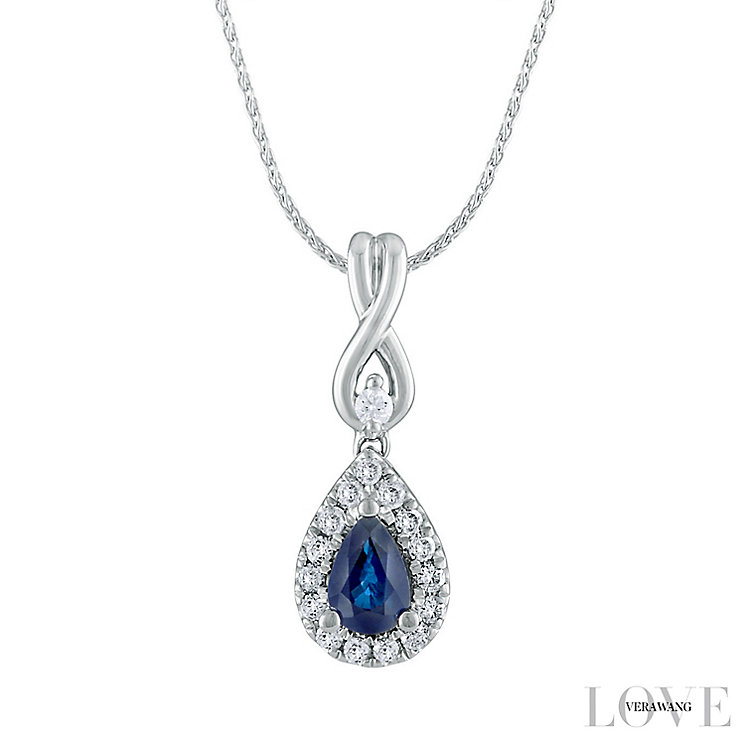 Vera Wang 18ct White Gold 0.15ct Diamond & Sapphire Pendant - Product number 6419526