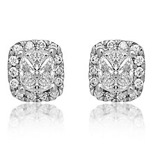18ct White Gold 0.75ct Cushion Stud Earrings - Product number 6420559