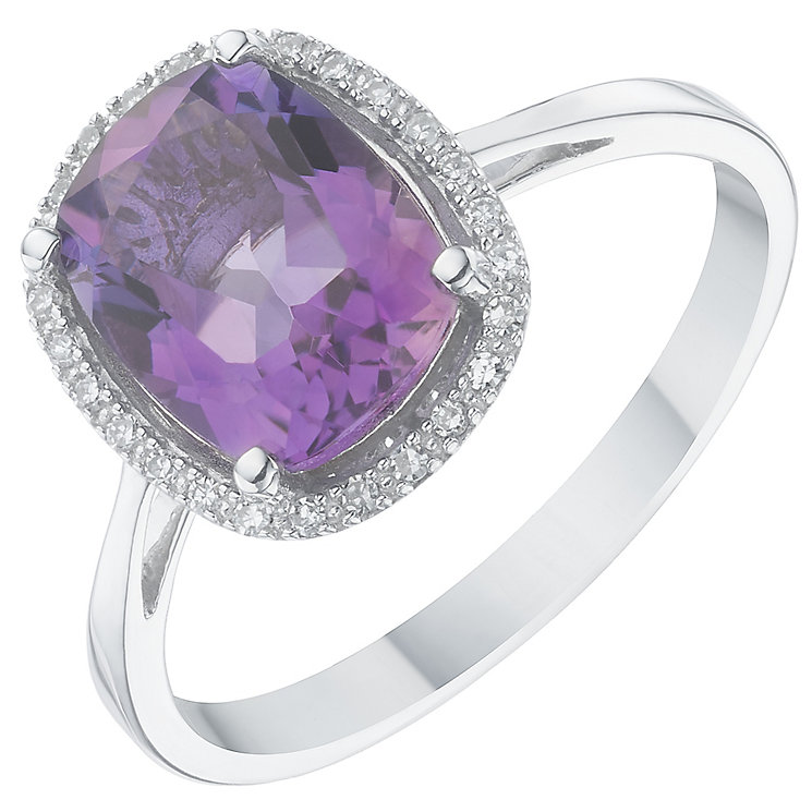 9ct White Gold Diamond & Amethyst Ring - Product number 6422195