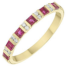 9ct Yellow Gold Diamond & Ruby Eternity Ring - Product number 6422330