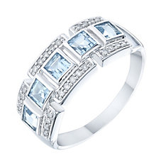 9ct White Gold Blue Topaz & Diamond Eternity Ring - Product number 6424252