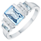 9ct White Gold Blue Topaz & Diamond Ring - Product number 6424910
