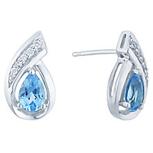 9ct White Gold Diamond & Topaz Earrings - Product number 6425127