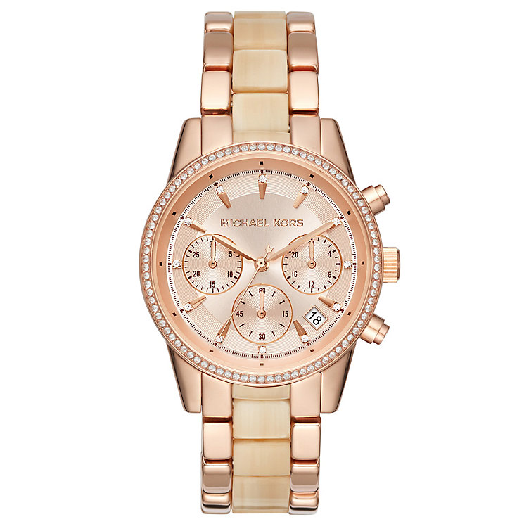 Michael Kors Ritz Ladies' Rose Gold Tone Bracelet Watch - Product number 6425968