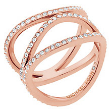 Michael Kors Rose Gold Tone Stone Set Ring Size P - Product number 6426174