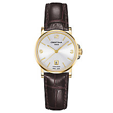 Certina DS Caimano ladies' brown leather strap watch - Product number 6426476
