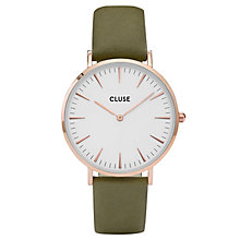 Cluse Ladies' La Bohème Green Leather Strap Watch - Product number 6426921
