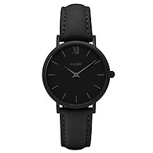 Cluse Ladies' Minuit Black Leather Strap Watch - Product number 6427138