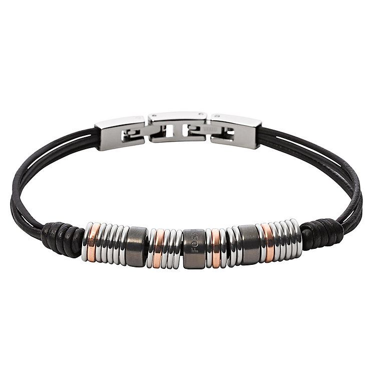 Fossil Men's Black Leather Beaded Bracelet - Product number 6427375