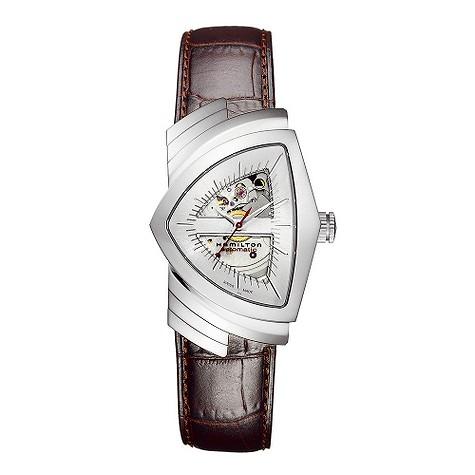 Hamilton Ventura brown leather strap watch