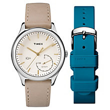 Timex Ladies' IQ+ Silver Tone Tan Leather Strap Gift Set - Product number 6433677