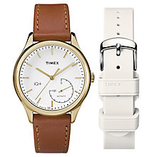 Timex Ladies' IQ+ Gold Tone Brown leather Strap Gift Set - Product number 6433685
