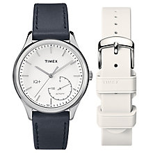 Timex Ladies' IQ+ Silver Tone Black Leather Strap Gift Set - Product number 6433693
