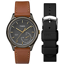 Timex Ladies' IQ+ Gunmetal Brown Leather Strap Gift Set - Product number 6433707