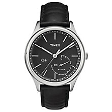 Timex Men's IQ+ Move Black Dial Black leather Strap Watch - Product number 6433715