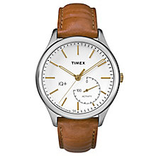 Timex Men's IQ+ Move White Dial Brown Leather Strap Watch - Product number 6433723