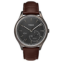 Timex Men's IQ+ Move Black Dial Brown Leather Strap Watch - Product number 6433731